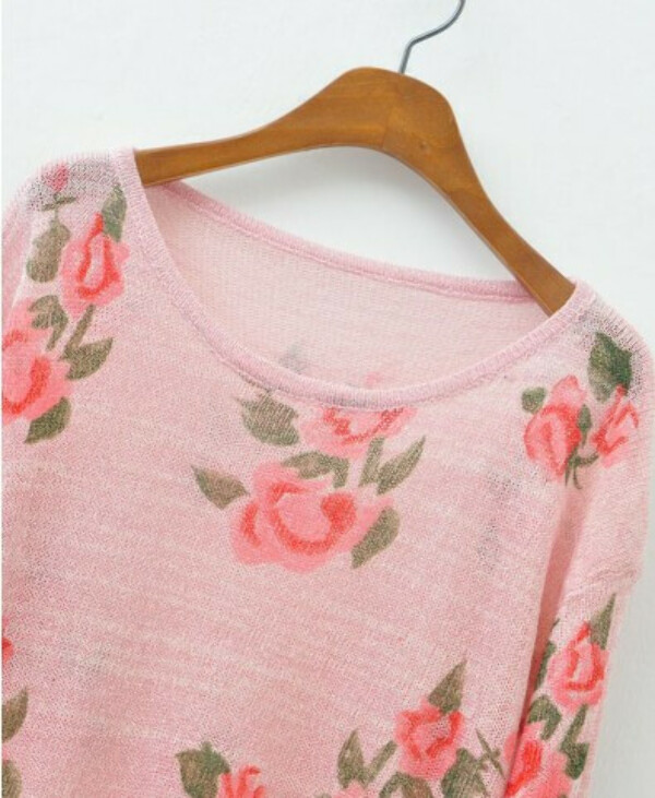 Ripped Knit Pullover with Floral Print