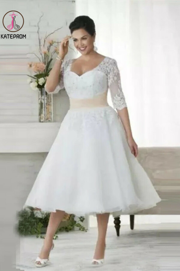 Kateprom Chic Tea Length Wedding Dresses A-line Half Sleeve V neck Lace Wedding Dress KPM0008