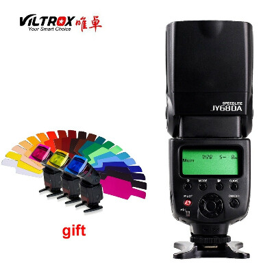 Viltrox JY 680A Универсальный Камера ЖК дисплей Вспышка Speedlite для Canon/Nikon/Pentax/Olympus DSLR + бесплатная 20 Цвет гели фильтр купить на AliExpress