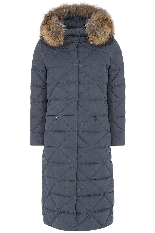 Пальто на натуральном пуху с отделкой мехом енота