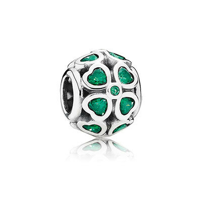 PANDORA   Шарм «Зеленый клевер на удачу»