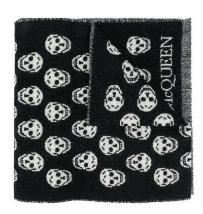 Alexander McQueen шарф вязки интарсия с узором SKull