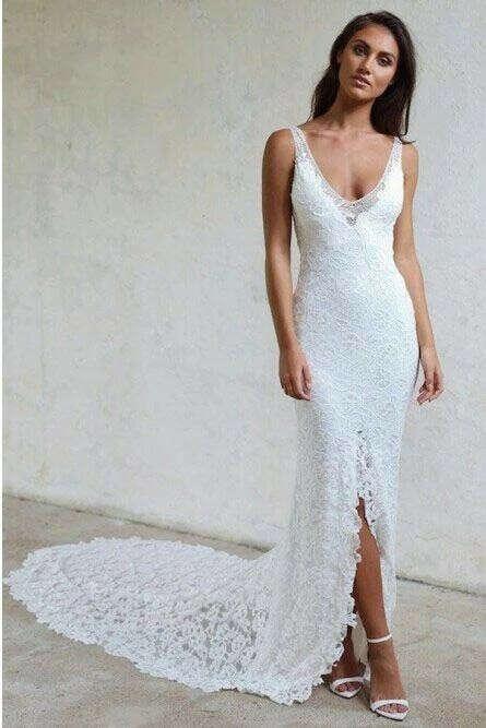 Mermaid V-Neck Backless Court Train Lace Wedding Dress with Split PFW0432