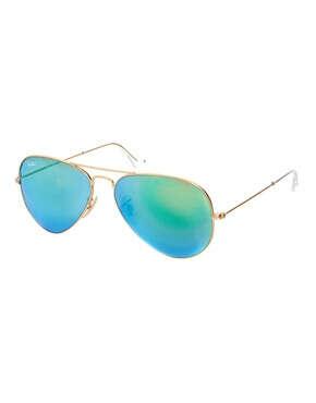 Ray-Ban Green Mirrored Aviator Sunglasses