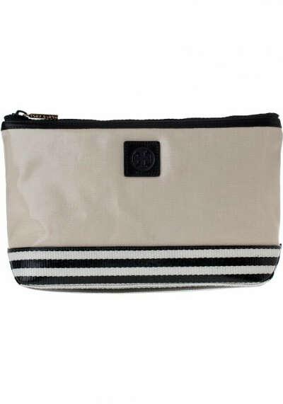 Tory Burch Kailey Slouchy Cosmetics Bag French Khaki Glazed Twill