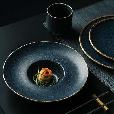 463.56руб. 40% СКИДКА|Керамическая тарелка для макарон KINGLANG, золотистая тарелка для стейка, американская десертная тарелка, семейные пищевые блюда для бифштекса в западном стиле|Блюдца и тарелки|   | АлиЭкспресс
