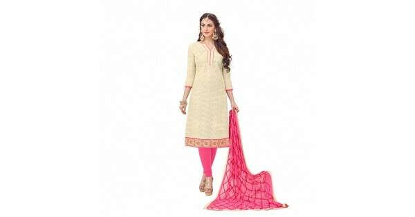 Cotton Jacquard Fabric Cream Color Dress Material