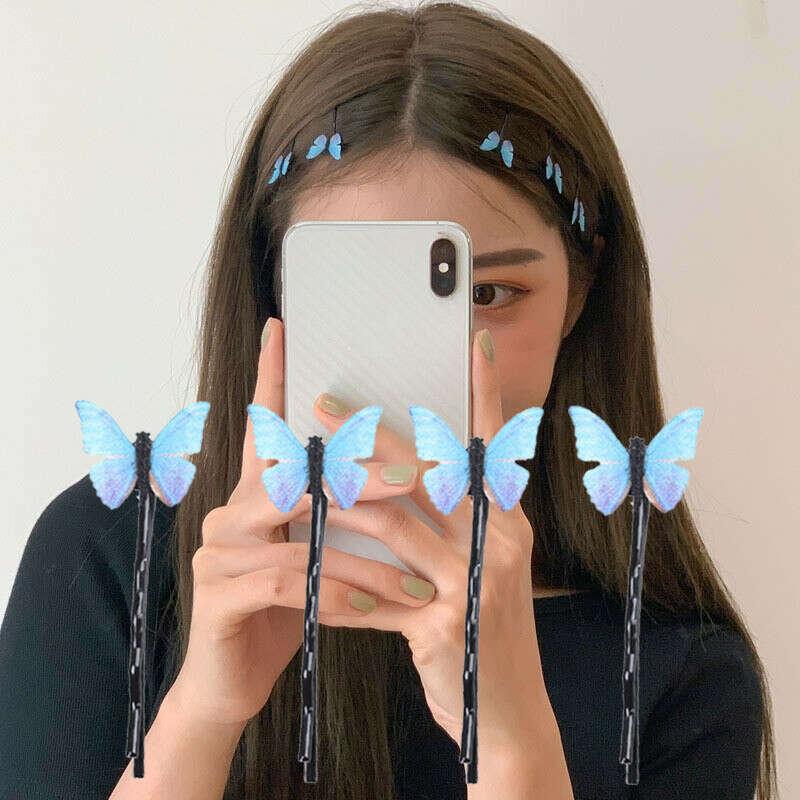 4 шт. заколки для волос с синей бабочкой элегантные марлевые заколки для волос для женщин милые модные летние праздничные украшения для волос ручной работы аксессуары Украшения для волос      АлиЭкспресс