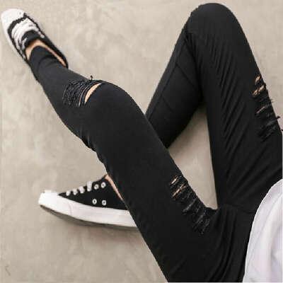 Женщин 2015 весна лето новинка высокое качество тканые хлопок отверстие рваные джинсы леггинсы брюки готической промывной леггинсы для женщин купить на AliExpress