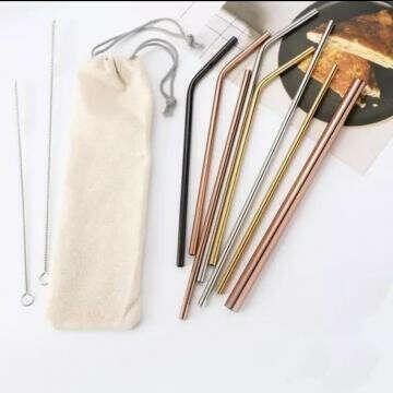 Металлическая трубочка + ершик + мешочек