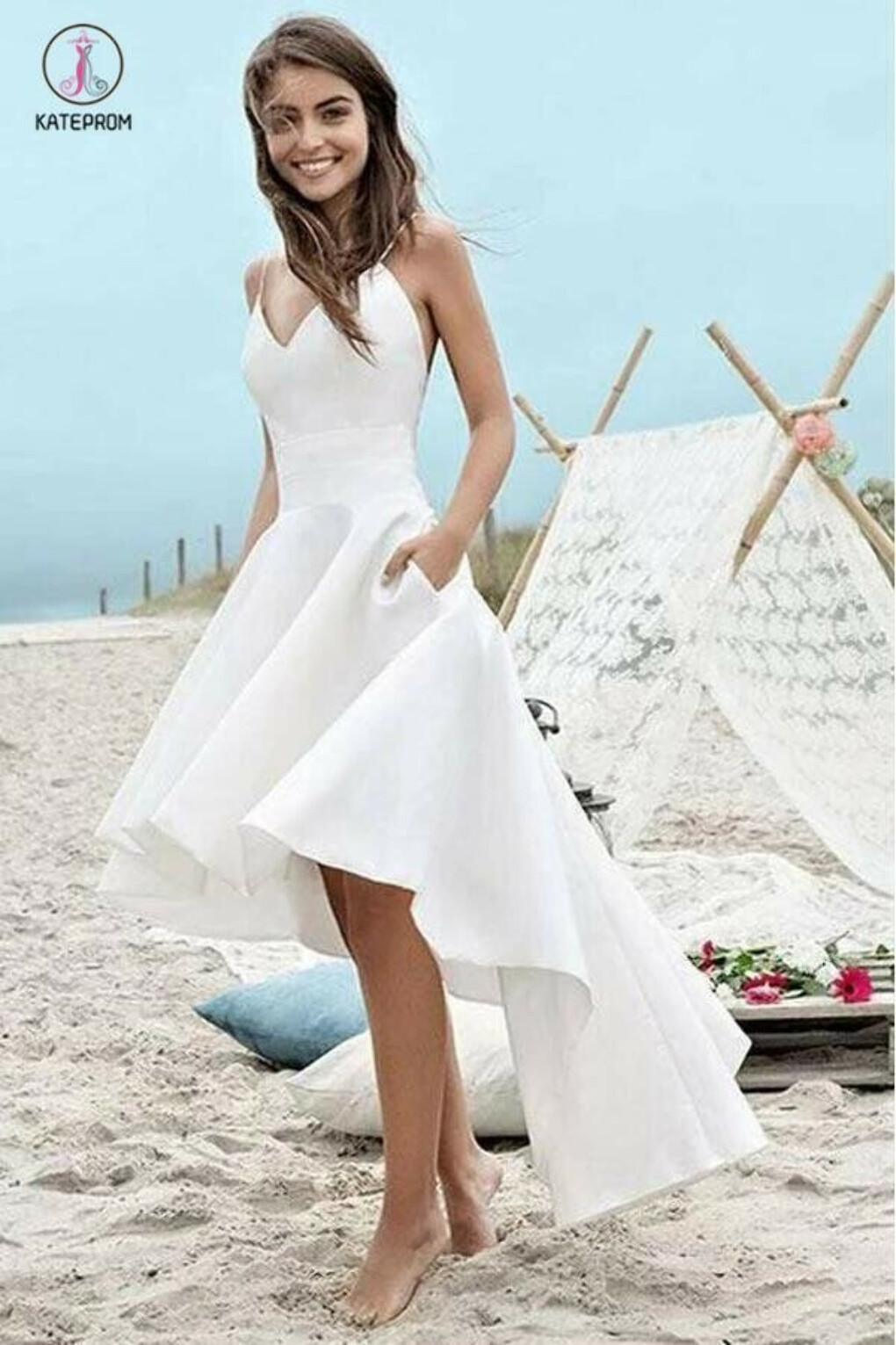 Simple Spaghetti Straps V-neck High Low Short Prom Dress,Beach Wedding Dress KPP0326