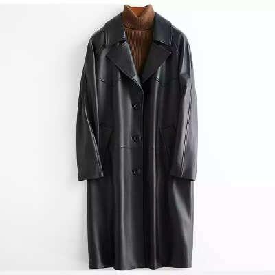 Lautaro черный кожаный плащ для женщин с рукавом реглан 2020 весна женская одежда Длинное мягкое свободное пальто из искусственной кожи, кожаный тренч женский,тренч из экокожи, тренчкот женский, кожаная куртка оверсайз | Женская одежда | АлиЭкспресс
