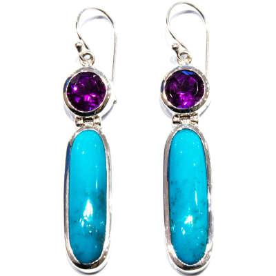 Amethyst and Turquoise Handmade Earrings