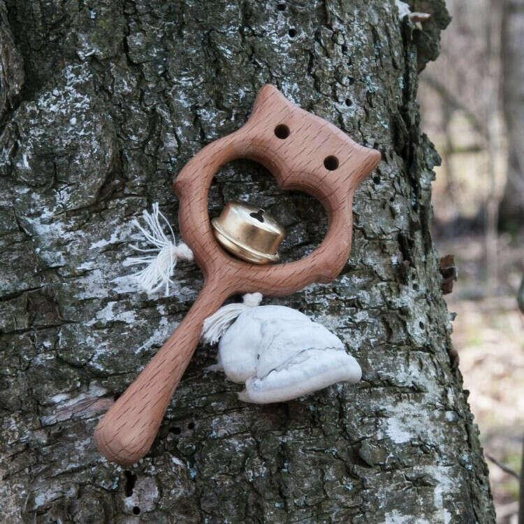 Деревянная погремушка с бубенцом Совушка Леснушки
