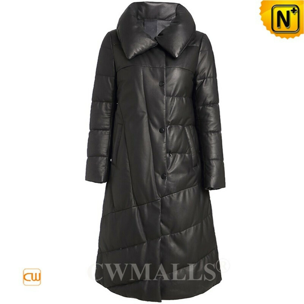Women Down Coat | Custom Quilted Leather Long Puffer Down Coat CW602608 | CWMALLS®