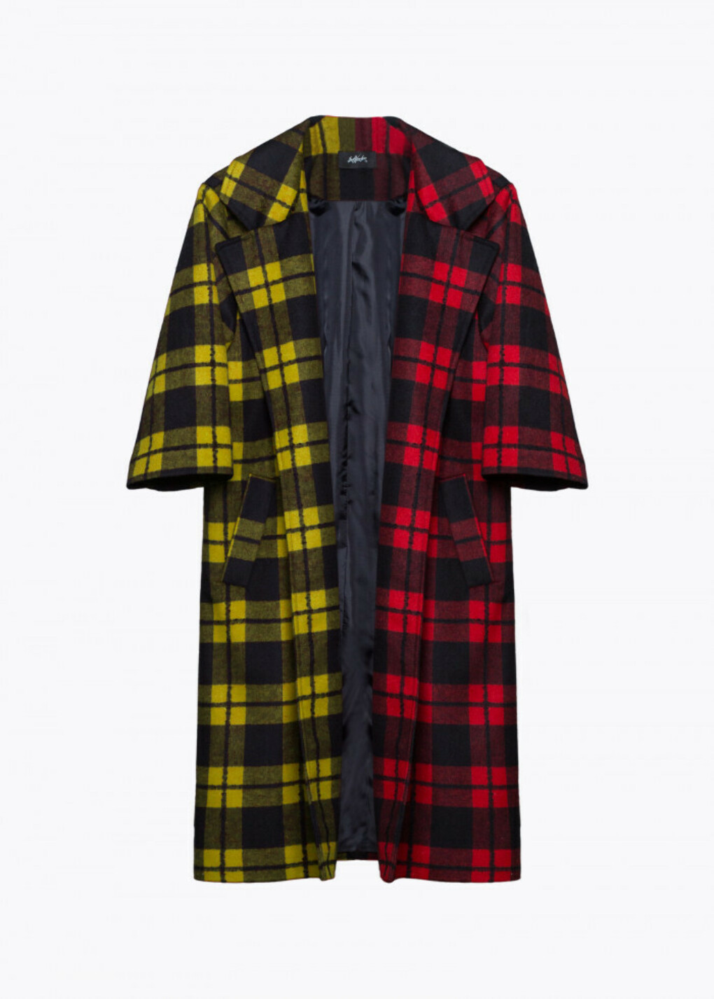CHECKED OVERCOAT 3/4 SLEEVE. RED/YELLOW