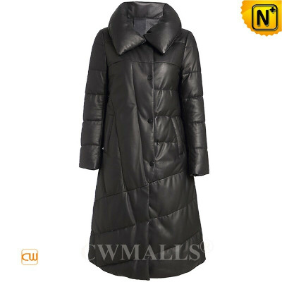 Women Down Coat   Custom Quilted Leather Long Puffer Down Coat CW602608   CWMALLS®