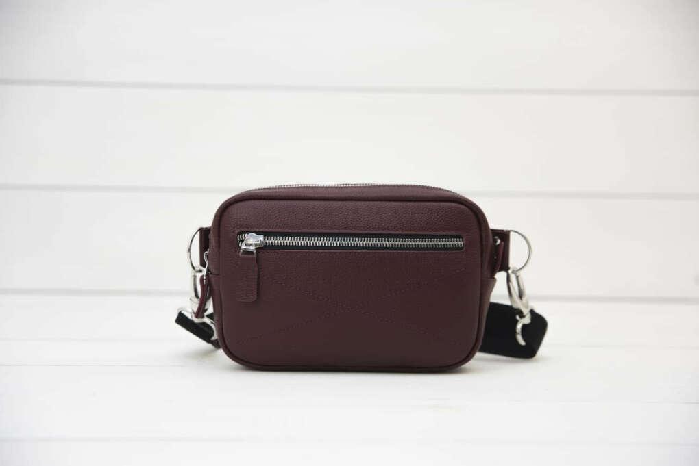 Bumbag Bordo✪ сумка поясная кожаная бордовая российского бренда Верфь