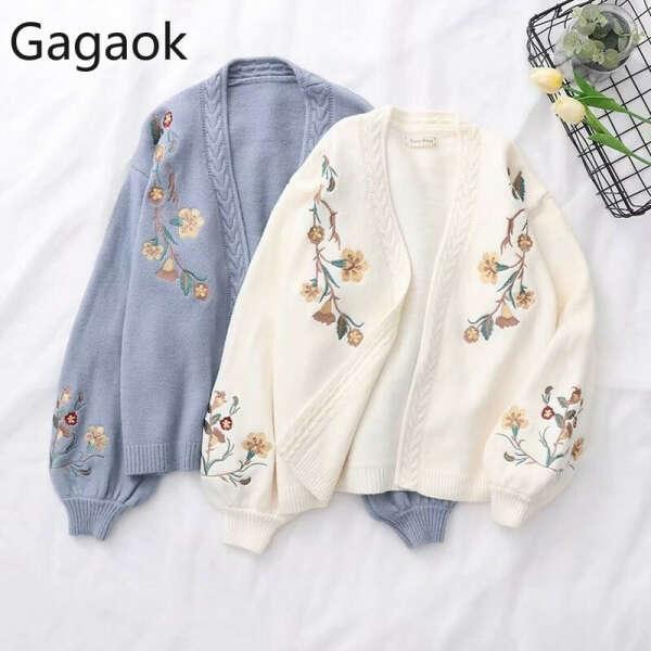 1557.82руб. 13% СКИДКА|Женский вязаный кардиган Gagaok, толстый свободный свитер с v образным вырезом и рукавами фонариками, с цветочной вышивкой, весна осень| |   | АлиЭкспресс