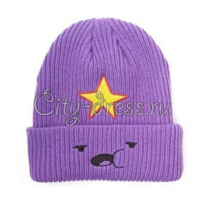 молодежная шапка с пупыркой (фиолетовая шапка пупырка)