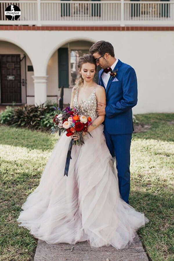Promfast Ball Gown Sexy Deep V-Neck Beaded Bodice Rustic Wedding Dress PFW0537