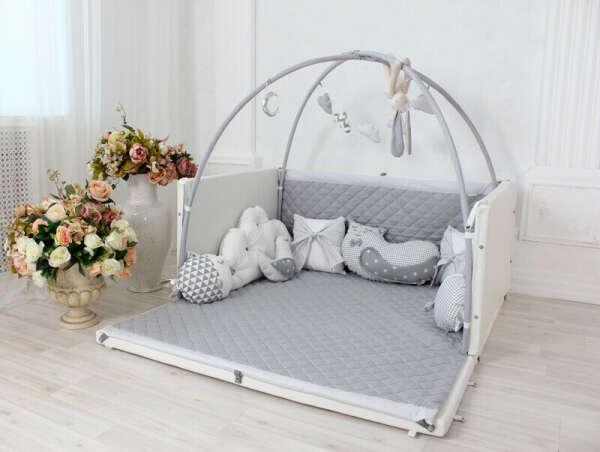 Детский манеж-трансформер Playhome For Kids Medium Size (цвет - белый, текстиль - серебро, с окошком)