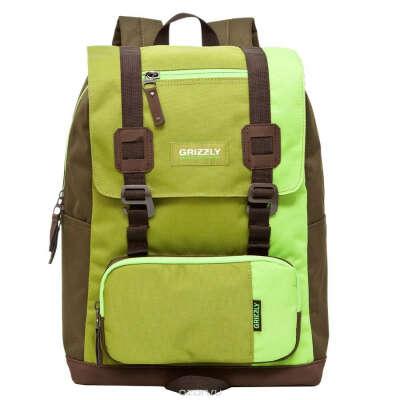 """Рюкзак городской """"Grizzly"""", цвет: салатовый, коричневый, 23 л. RU-619-2/2"""