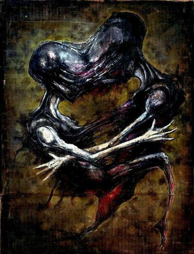 "Print 8x10"" - 5.9.06 - Dark Art Alien Monster Creature Blood Love Heart Science Fiction Cyberpunk Horror Gothic Creepy Couple"