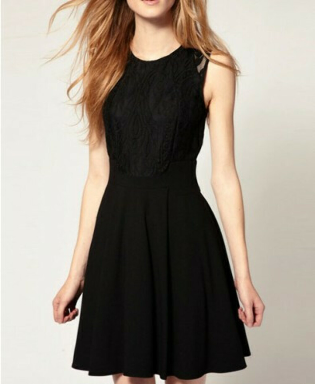 Black Body-Conscious Dress with Lace Insert