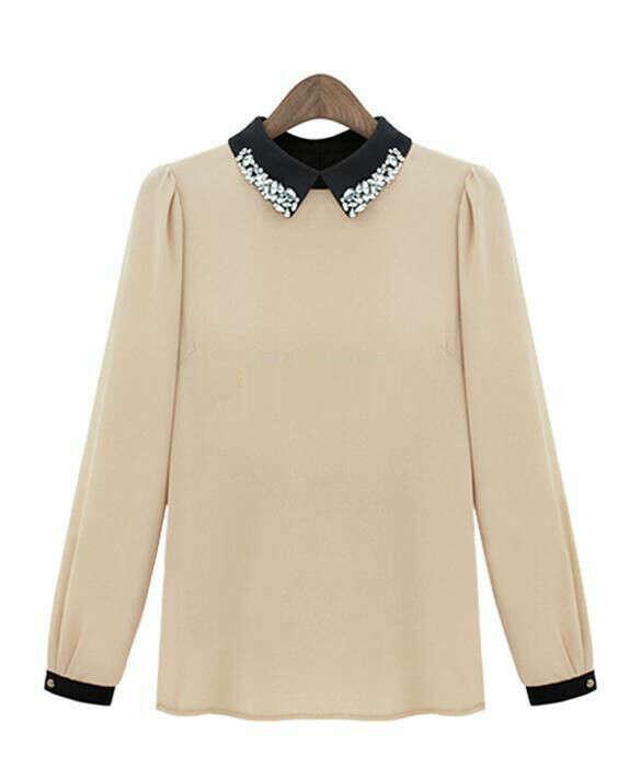 Fashion Women Doll Collar Chiffon Long Sleeve Casual Blouse Shirt Top #WR