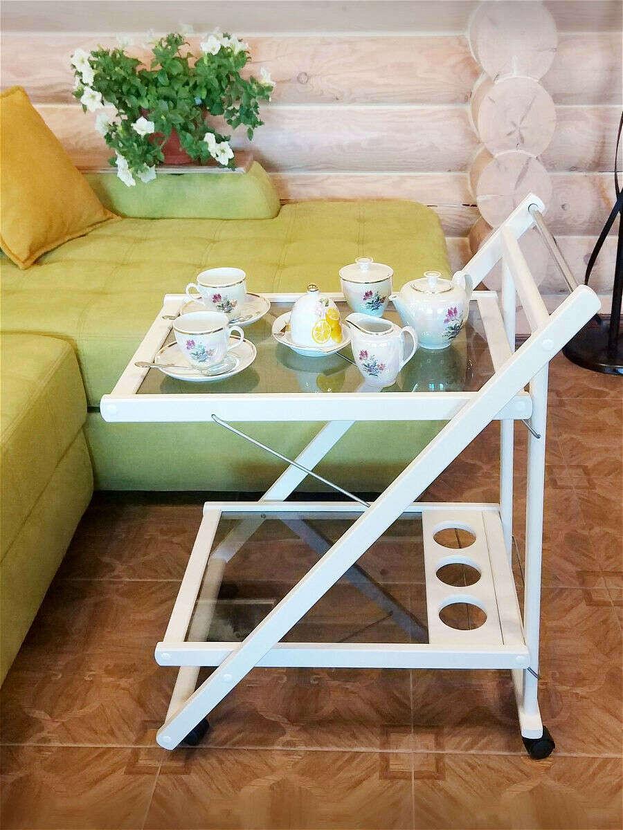 Сервировочный столик на колесах складной с подставкой для бутылок, mebel welcome