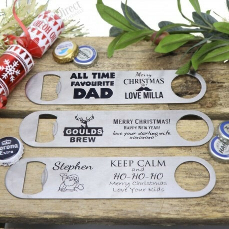 christmas personalised engraved stainless steel larger bottle opener