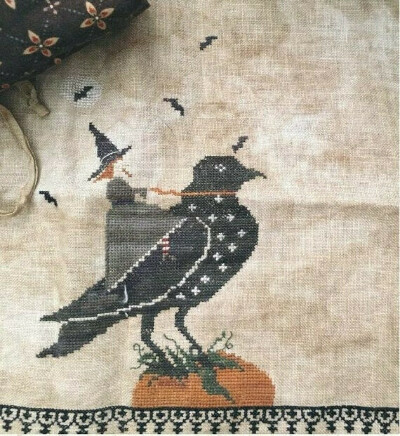 """""""Crow & Witch"""" • Counted Cross Stitch Pattern"""