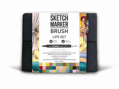 Набор маркеров Sketchmarker Brush Life set 36 (36 маркеров + сумка органайзер)