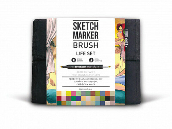 Набор маркеров Sketchmarker Brush Life set 36 (36 маркеров + сумка органайзер)