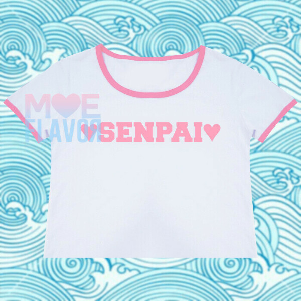 SALE HEARTS AND SENPAI PINK AND WHITE CROP TOP