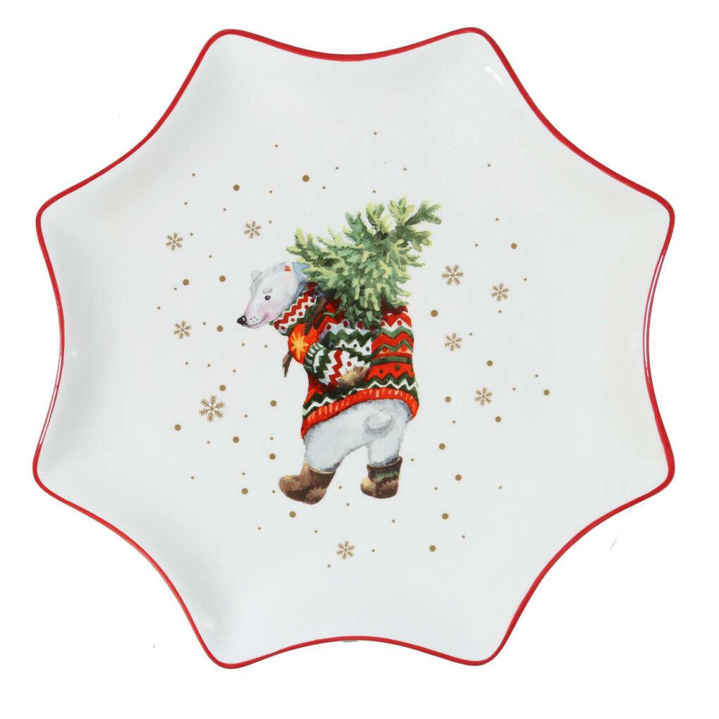 (S)(НГ)Блюдо, 30 см, керамика, звезда, Медведь с елкой, Christmas