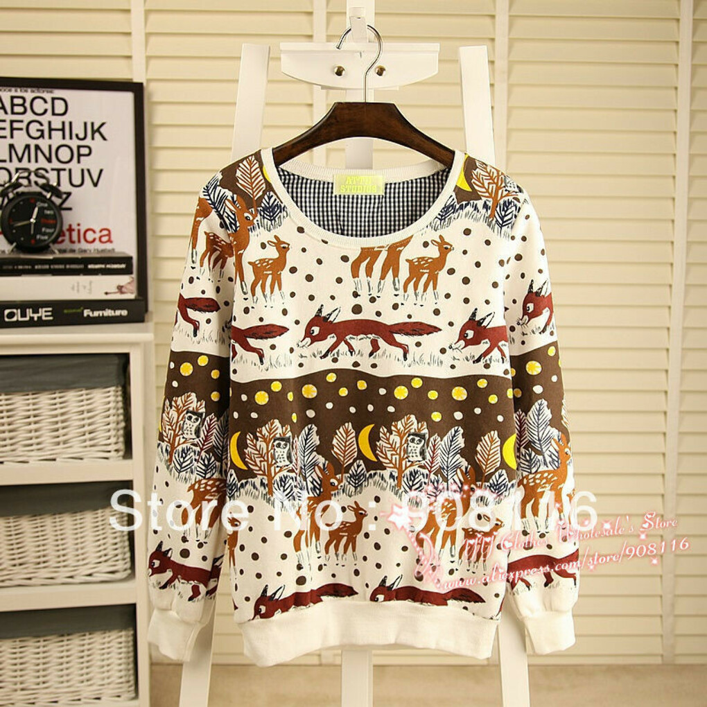 2013 New Women long cute animals printed sweet Sweatshirts Hoodies/pullover,women's Jacket ladies casual  autum/winter hoodie-in Hoodies & Sweatshirts from Apparel & Accessories on Aliexpress.com