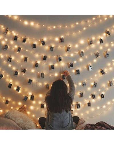 Светящаяся гирлянда с прищепками для фото