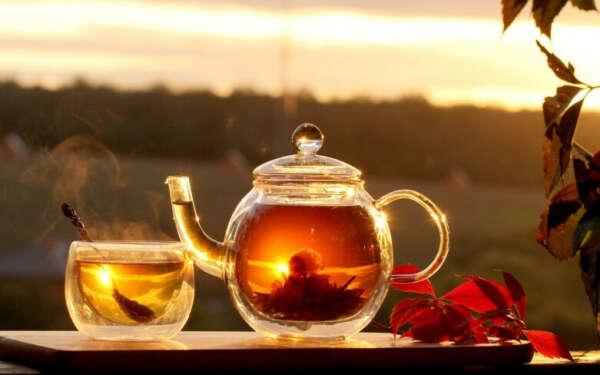 Набор стеклянный чайник и чашки