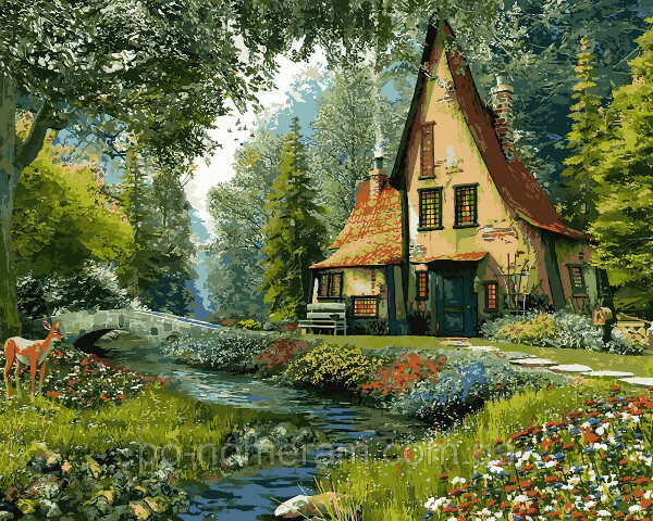 Картина по номерам Дом на опушке леса (VP918) 40 х 50 см DIY Babylon купить Киев на Po-Nomeram