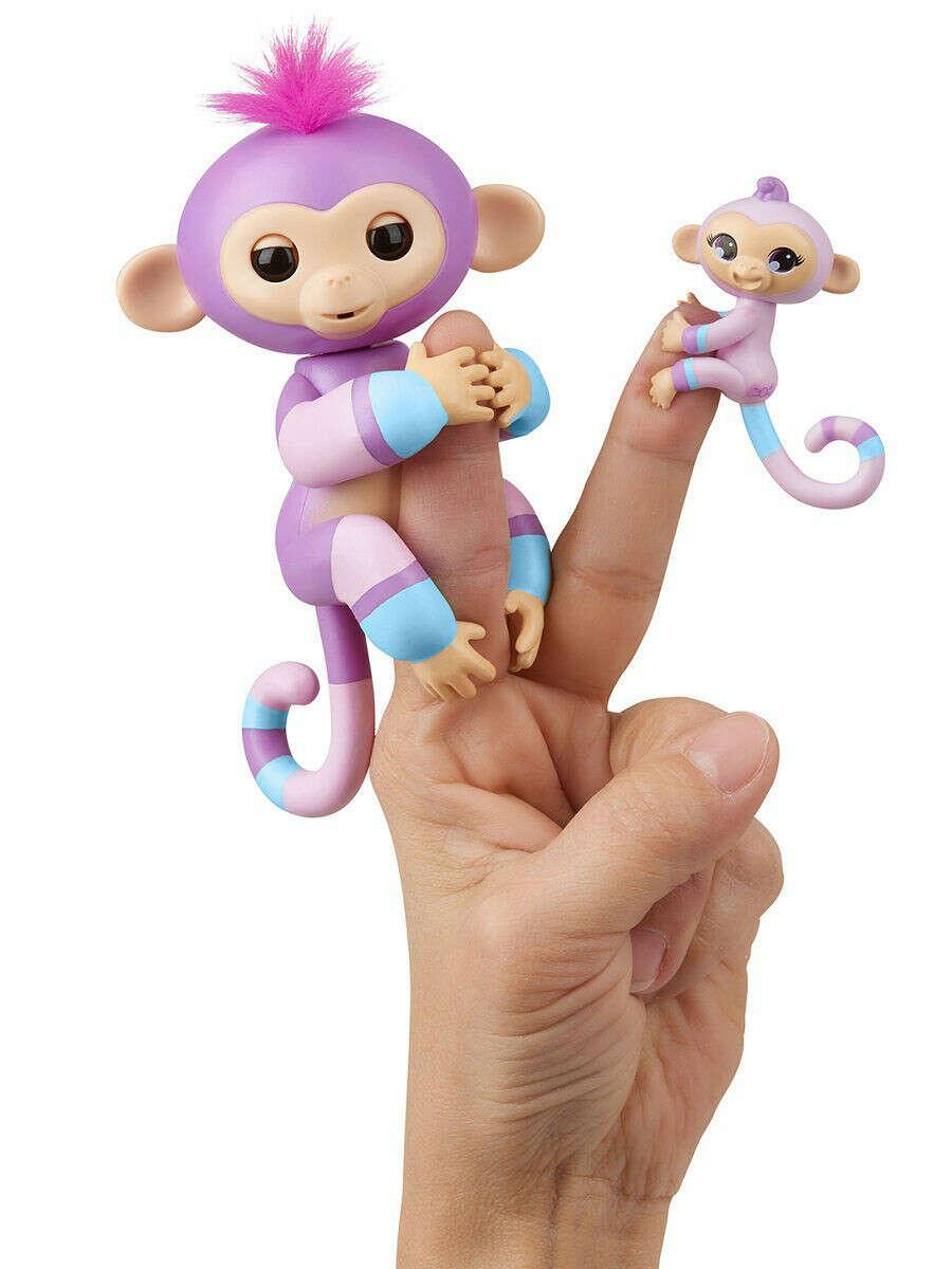 Интерактивная обезьянка Вайолет с малышом, 12 см, Fingerlings