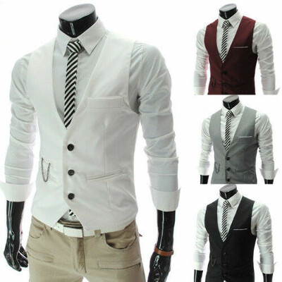 Men Formal Slim Fit Pocket Design Casual Fashion V-neck Vest Coat 4 Colors