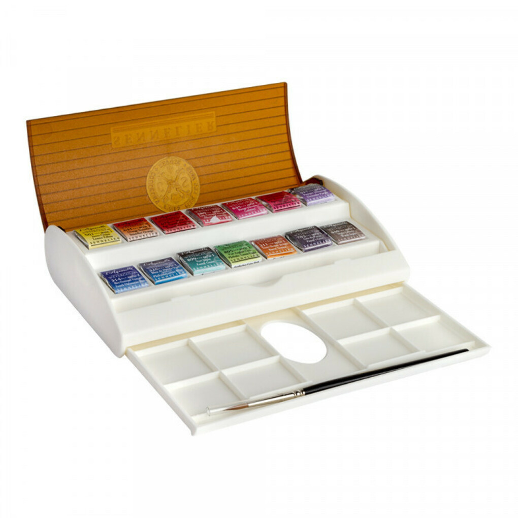 SENNELIER : WATERCOLOUR : TRAVEL BOX SET OF 14 HALF PANS