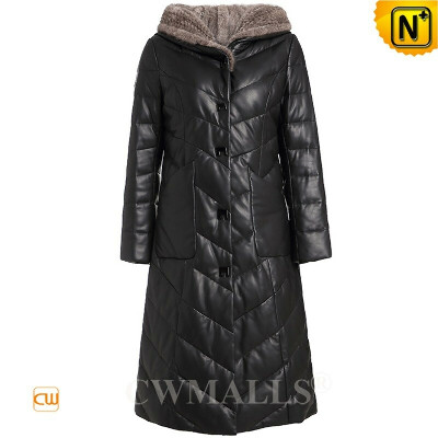 Women Leather Down Coat   Custom Women Quilted Leather Down Coat CW602607   CWMALLS®