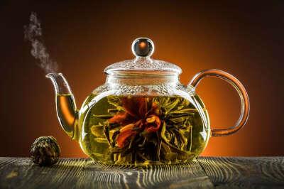 Большой стеклянный чайник для заваривания чая