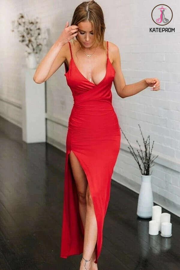Kateprom Red Elastic Satin V-neck Spaghetti Straps High Split Mermaid Prom Dress KPP1335