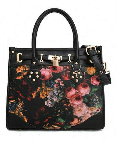 Vintage Floral Print Rectangular Bag in PU Leather