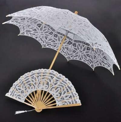 Кружевной зонт и веер