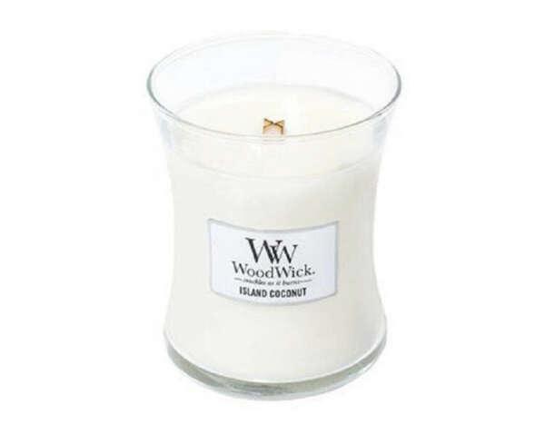 """WoodWick Ароматическая свеча Woodwick """"Кокосовый остров"""", средняя"""